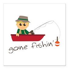 "Gone Fishin Square Car Magnet 3"" x 3"""