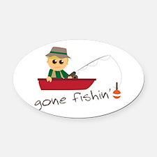 Gone Fishin Oval Car Magnet