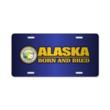 Alaska Born and Bred Aluminum License Plate