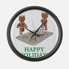 HAPPY HOLIDAYS - GINGERBREAD MEN Large Wall Clock