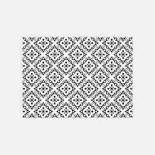 Floral Nouveau Deco Pattern 5'x7'Area Rug