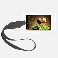 Good Wine Friends & Times Luggage Tag