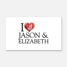I Heart Jason & Elizabeth Rectangle Car Magnet