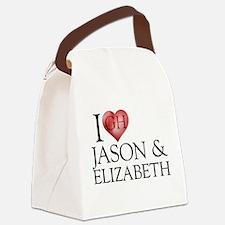 I Heart Jason & Elizabeth Canvas Lunch Bag