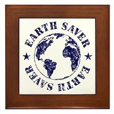 Save Earth Environmental Slogan Framed Tile