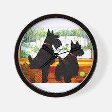 A Scotty Dog Christmas Wall Clock