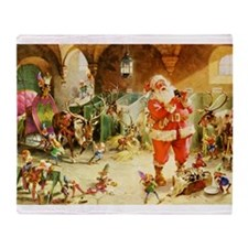 Santa in the North Pole Stables Throw Blanket