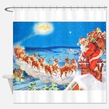 Santa Claus Up On The Rooftop Shower Curtain