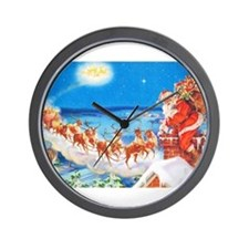 Santa Claus Up On The Rooftop Wall Clock