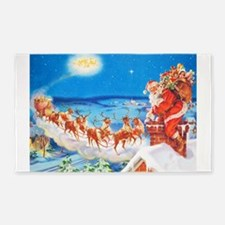 Santa Claus Up On The Rooftop 3'x5' Area Rug