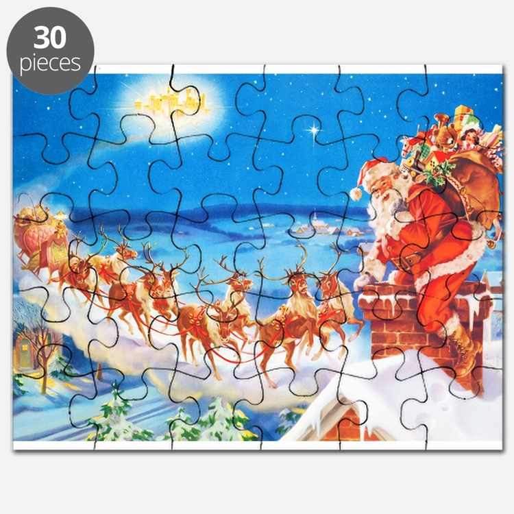 Santa Claus Up On The Rooftop Puzzle