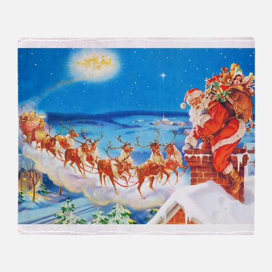 Santa Claus Up On The Rooftop Throw Blanket