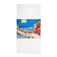 Santa Claus Up On The Rooftop Beach Towel