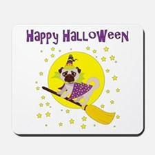 Halloween Witchy Pug Mousepad