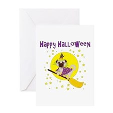 Halloween Witchy Pug Greeting Card