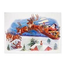Santa In His Flying Sleigh 5'x7'Area Rug