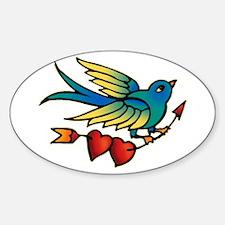 Bird Tattoo Art Oval Decal