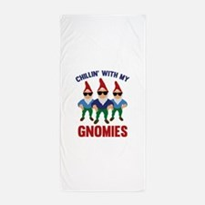 Chillin' With My Gnomies Beach Towel