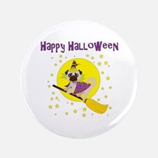 """Halloween Witchy Pug 3.5"""" Button"""