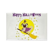 Halloween Witchy Pug Rectangle Magnet
