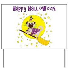 Halloween Witchy Pug Yard Sign