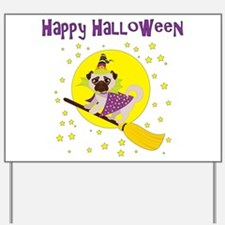 Halloween Witchy Pug Yard Sign