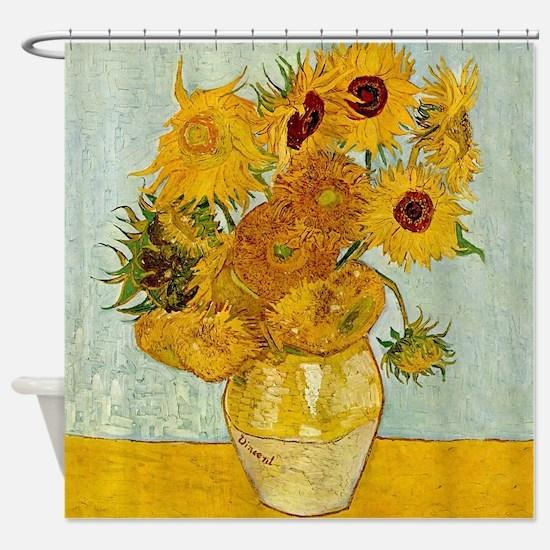 Vincent Van Gogh Sunflower Painting Shower Curtain
