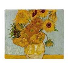 Vincent Van Gogh Sunflower Painting Throw Blanket