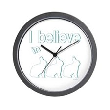 I believe in bunnies Wall Clock