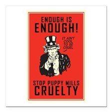 """Stop Puppy Mills Square Car Magnet 3"""" x 3"""""""