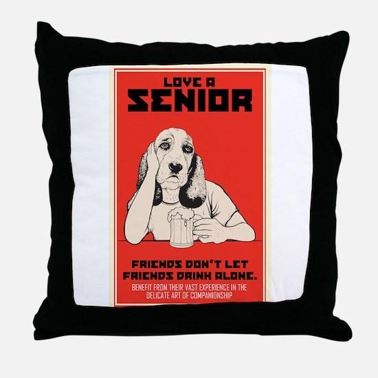 Love A Senior Dog Throw Pillow