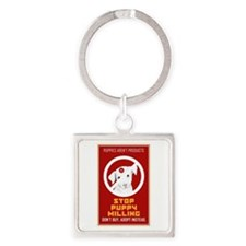 Stop Puppy Milling Square Keychain