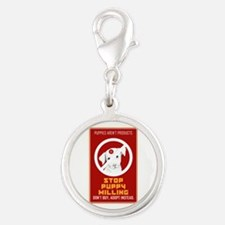 Stop Puppy Milling Silver Round Charm