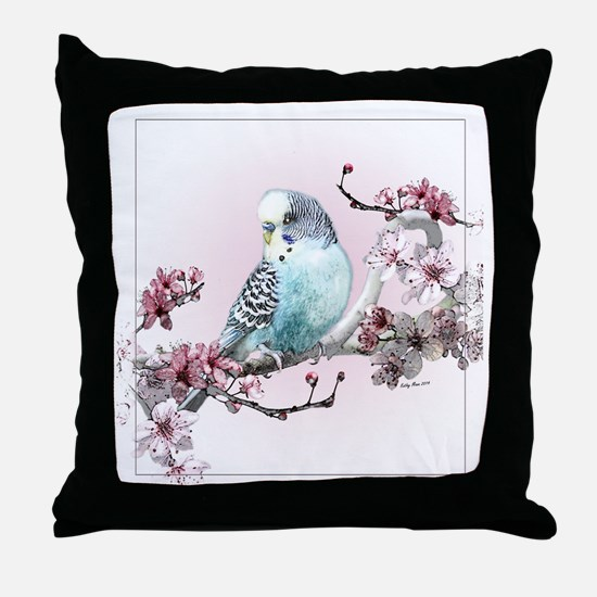 Parakeet And Cherry Blossoms - Throw Pillow