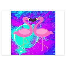Pink Flamingo Teal Blue Purple Abstract Invitation