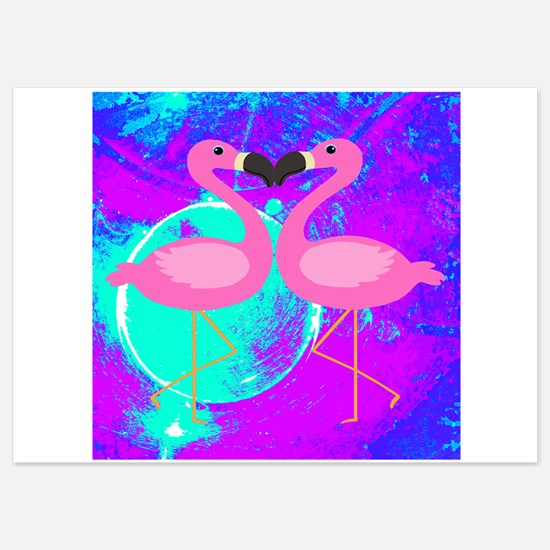 Pink Flamingo Teal Blue Purple Abstract Invitation