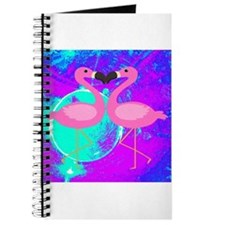 Pink Flamingo Teal Blue Purple Abstract Journal