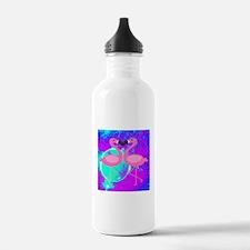 Pink Flamingo Teal Blue Purple Abstract Water Bott
