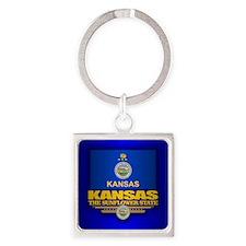 Kansas (v15) Square Keychain