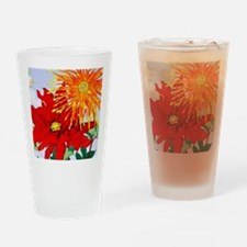 Dahlias! Japanese Woodcut Drinking Glass