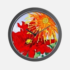 Dahlias! Japanese Woodcut Wall Clock