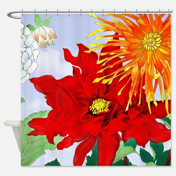 Dahlias! Japanese Woodcut Shower Curtain