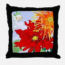 Dahlias! Japanese Woodcut Throw Pillow