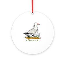 Hamptons NY Seagull Ornament (Round)