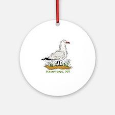 Hamptons NY Seagull Round Ornament