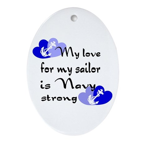 Navy Strong Oval Ornament