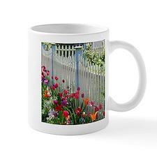 Tulips Garden along White Picket Fence 2 Mugs