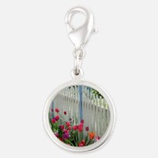 Tulips Garden along White Picket Fence 2 Charms