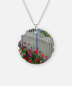 Tulips Garden along White Picket Fence 2 Necklace