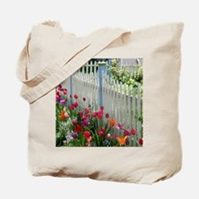 Tulips Garden along White Picket Fence 2 Tote Bag